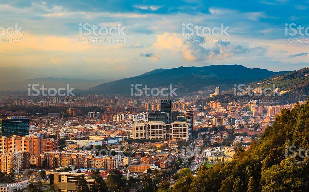 Bogota, Colombia - Barrio de Usaquen viewed from La Calera stock photo