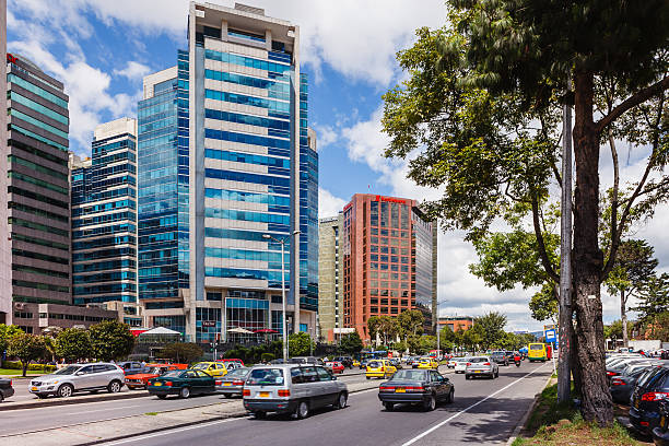 Bogota, Colombia: Carrera 7 Commonly Called Septima, One Of The Arterial Roads In The Capital City; The Landmark Torres De Unidas In Usaquen To The Left stock photo