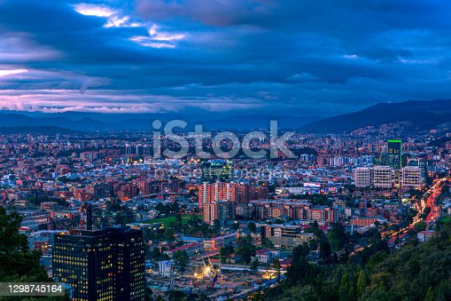 istock Bogota, Colombia - High Angle Panoramic View Of The Northern Part Of The Capital City As Viewed From La Calera On The Andes Mountains. 1298745164