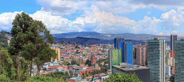 Bogota, Colombia - High Angle Panoramic View of the South American Capital City On The Andes Mountains - Contrast Of Old And New stock photo