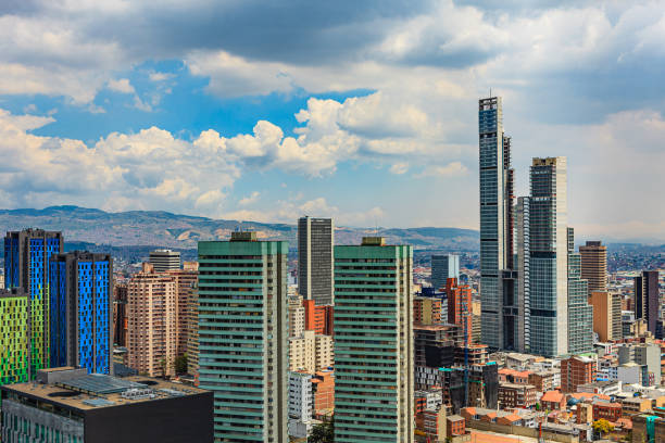 Bogota Colombia: High Angle View Of Modern Buildings In Downtown Bogota Including BD Bacata, The Tallest Building In The Country stock photo