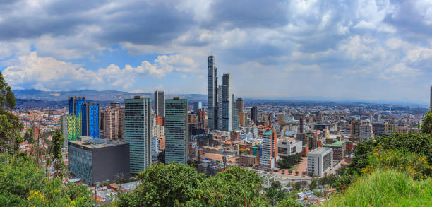 Bogota, Colombia - High Angle View of the South American Capital City On The Andes Mountains - BD Bacatá Tallest Man Made Structure In Colombia stock photo