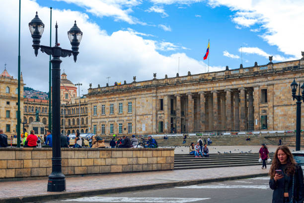 Bogota, Colombia - Looking Across Plaza Bolivar To The National Capitol, The Seat Of The Colombian Government In The South American Capital City. stock photo