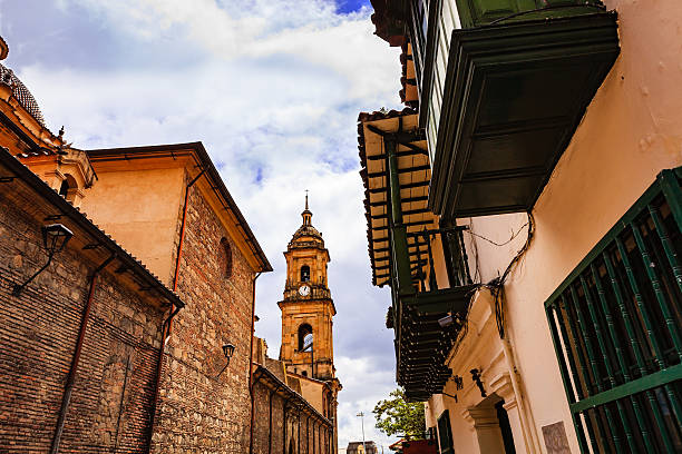 Bogota, Colombia: Looking Upwards at Belfry of Cathedral Primada stock photo