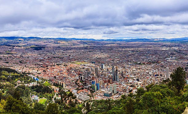Bogota, Colombia: Panoramic View Of Capital City Shot From Monserrate; Excellent View Of Altiplano Cundiboyacense stock photo