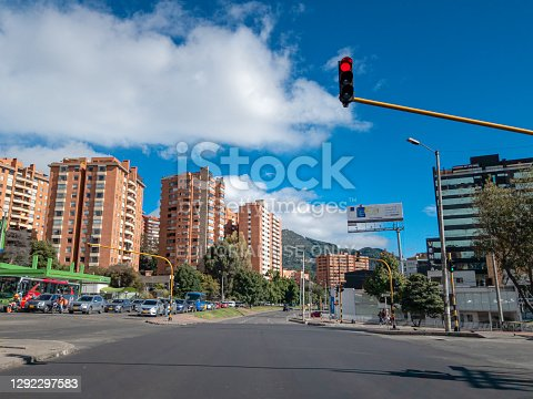 istock Bogota, Colombia - Shot On A Mobile Device - Drivers Point of View At A Stoplight On Carrera Septima Where Calle 147 Meets Septima, In The Usaquen Area, On The Southbound Carriageway In The Andean Capital City. The La Calera Hills In The Far Background. 1292297583