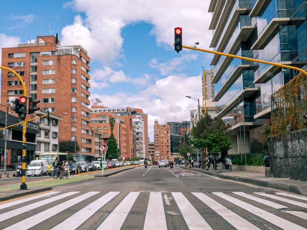 Bogota, Colombia - Shot On A Mobile Device - Drivers Point of View Where Calle 63 Meets Carrera Septima In A Downtown District Of The Capital City. The Zebra Crossing Makes An Interesting Foreground. stock photo
