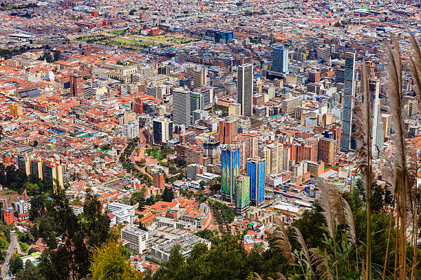 Bogota, Colombia: The Andean Capital City As Viewed From Monserrate; To The Left Is Historic La Candelaria And To The Right The Modern Down Town Area stock photo