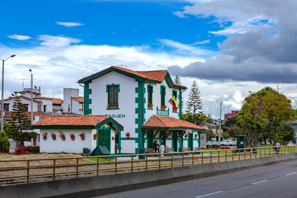 Bogota, Colombia - The Train Side Of The Colonial Railroad Station In Usaquen In The Andean Capital City stock photo