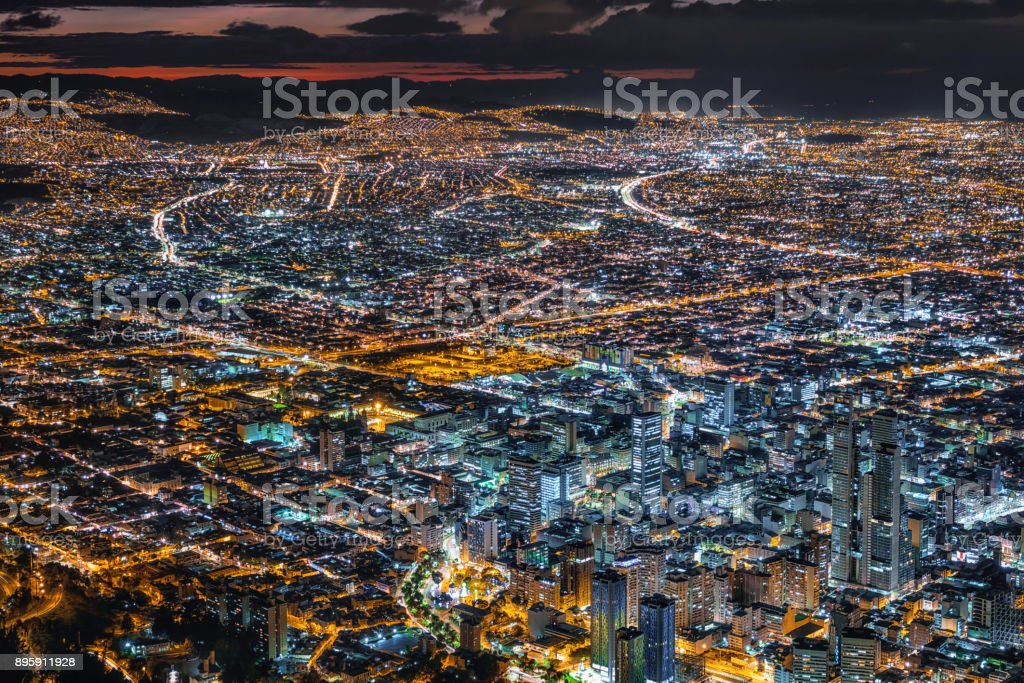 Bogota, Colombia, View of Cityscape and Downtown Buildings at Dusk stock photo