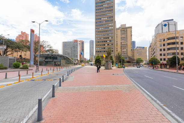 Bogota metro station National Museum entrance Colombia Bogota,  Colombia  March 17  streets dedicated to bus transportation, allow inhabitants and tourists to move quickly between the various museums of the city. National museum stop. Shoot on March 17, 2019 bus rapid transit stock pictures, royalty-free photos & images