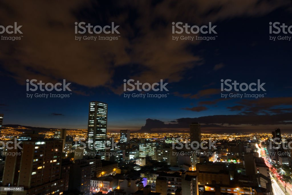 Bogota night exposure stock photo