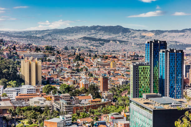 bogota skyline cityscape colombia - colombia stock photos and pictures