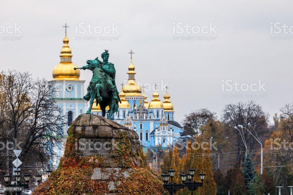Bohdan Khmelnytsky Monument on  Sophia Square, Kiev, Ukraine stock photo