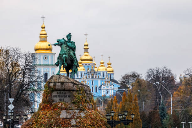 Bohdan Khmelnytsky Monument on  Sophia Square, Kiev, Ukraine stock photo