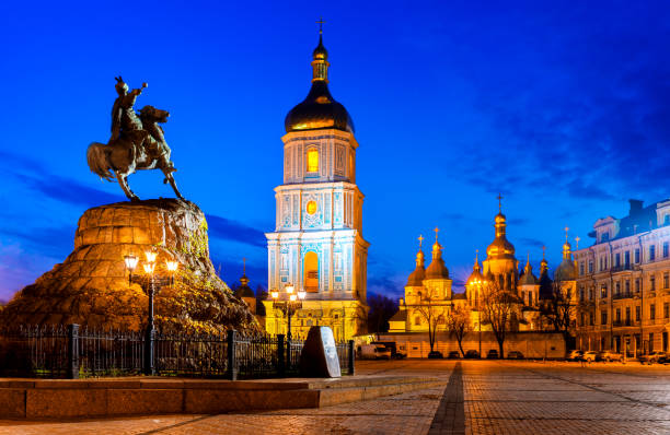 Bohdan Khmelnytsky Monument on St. Sophia Square, Kiev, Ukraine stock photo