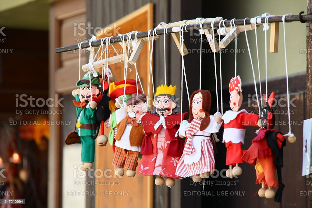 Bohemia, Cesky Krumlov, Czech Republic - May 21, 2011 - Dolls stock photo
