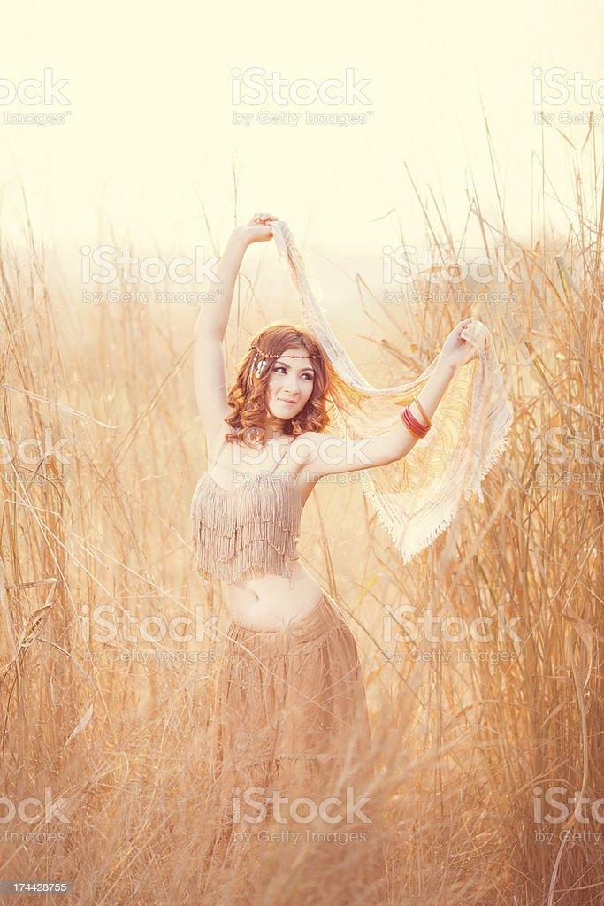 Bohemian & Gypsy woman royalty-free stock photo