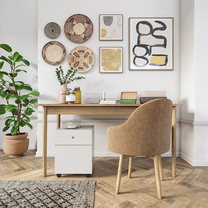 Bohemian style home office interior 3d render