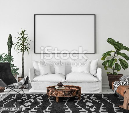 1027116110 istock photo Bohemian interior with frame mock-up 1027116106
