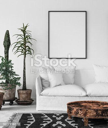 Bohemian interior with frame mock-up, 3d render