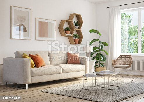 Bohemian living room interior 3d render with  beige colored furniture and wooden elements