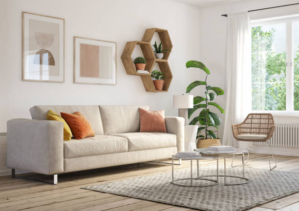 bohemian living room interior - 3d render - home decor boho imagens e fotografias de stock