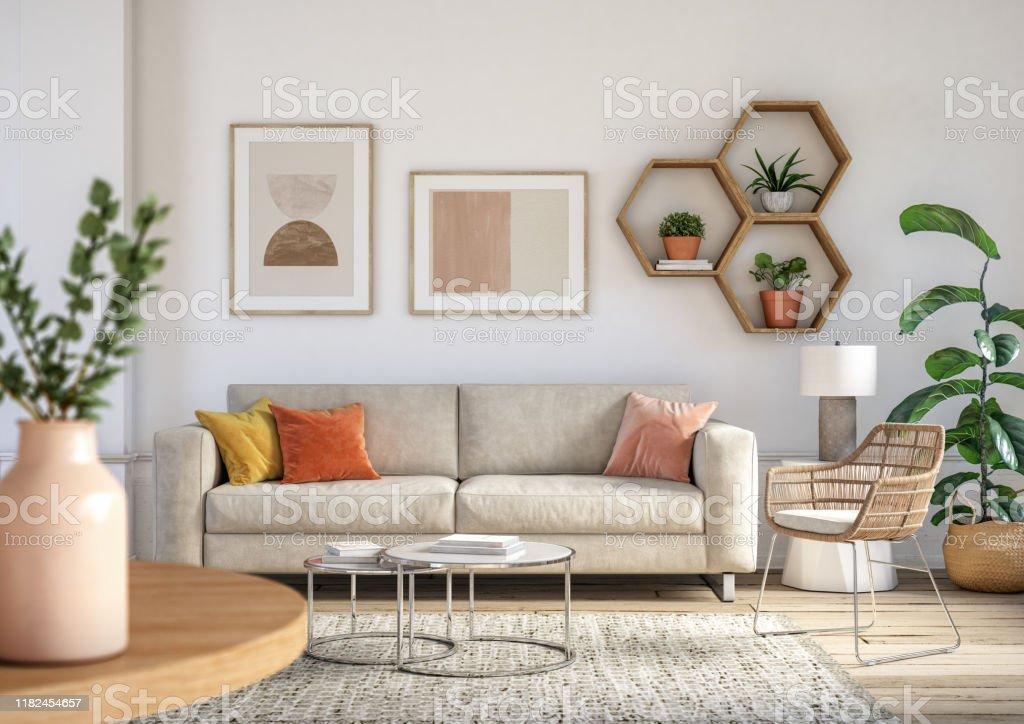 波希米亞客廳內部 - 3D 渲染 - 免版稅住宅內部圖庫照片
