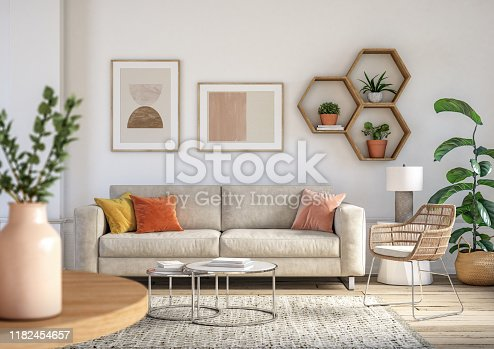 istock Bohemian living room interior - 3d render 1182454657