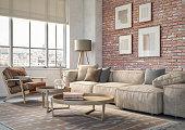 istock Bohemian living room interior - 3d render 1206453540