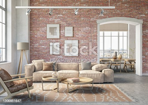 Bohemian living room interior 3d render with  beige colored furniture and wooden elements and brick wall