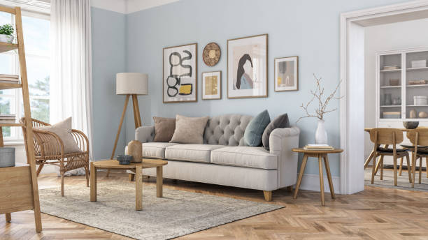 Bohemian living room interior - 3d render Bohemian living room interior 3d render with  beige colored furniture and wooden elements and light blue colored wall serbia and montenegro stock pictures, royalty-free photos & images