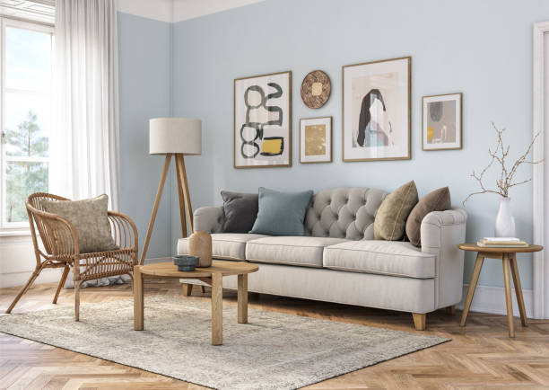 Bohemian living room interior - 3d render Bohemian living room interior 3d render with  beige colored furniture and wooden elements and light blue colored wall scandinavian culture stock pictures, royalty-free photos & images