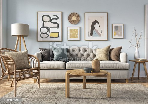 Bohemian living room interior 3d render with  beige colored furniture and wooden elements and light blue colored wall