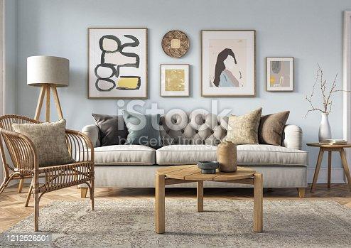 istock Bohemian living room interior - 3d render 1212526501