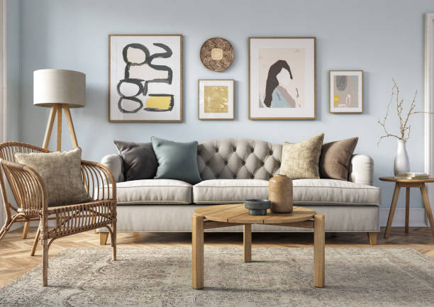Bohemian living room interior - 3d render Bohemian living room interior 3d render with  beige colored furniture and wooden elements and light blue colored wall home decor stock pictures, royalty-free photos & images
