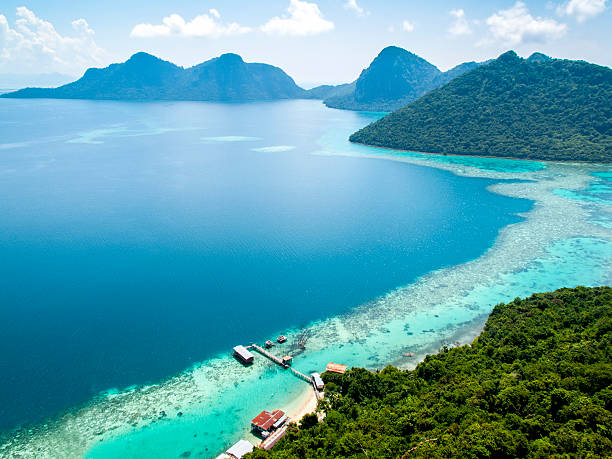 bohey dulang hill landscape from bohey dulang hill island of borneo stock pictures, royalty-free photos & images
