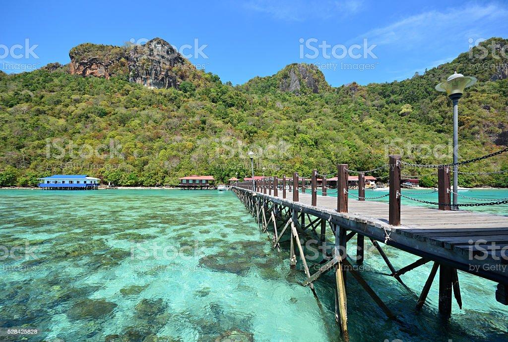 Bohey Dulang Island in Semporna, Sabah Borneo stock photo