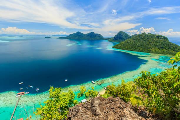 Bohey Dulang Island scenic panoramic top view of Bohey Dulang Island Semporna, Sabah. island of borneo stock pictures, royalty-free photos & images
