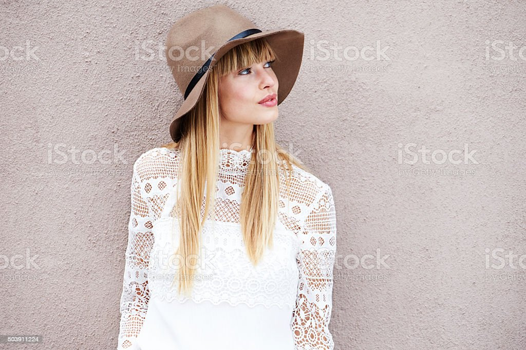 Boho beauty looking away stock photo
