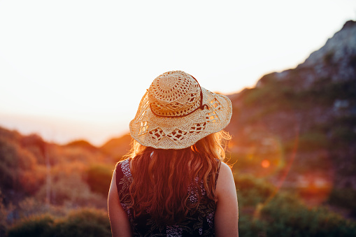 Boho Girl Walking And Enjoying Nature With Summer Sunflare Stock Photo - Download Image Now