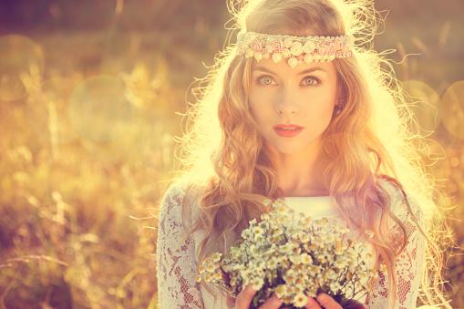 Boho Styled Bride on Nature Background