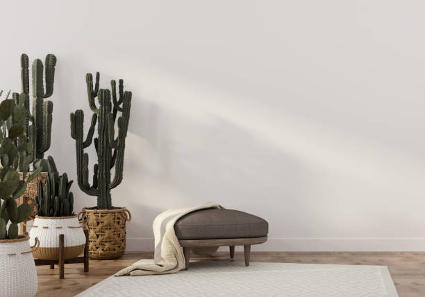 boho-style interior with leather pouf and cacti - home decor boho imagens e fotografias de stock