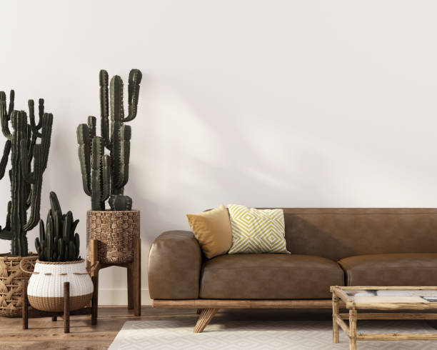 boho-style interior with leather sofa and cacti - home decor boho imagens e fotografias de stock