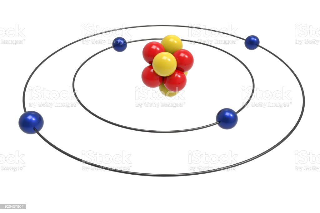 Bohr Model Of Beryllium Atom With Proton Neutron And Electron Stock