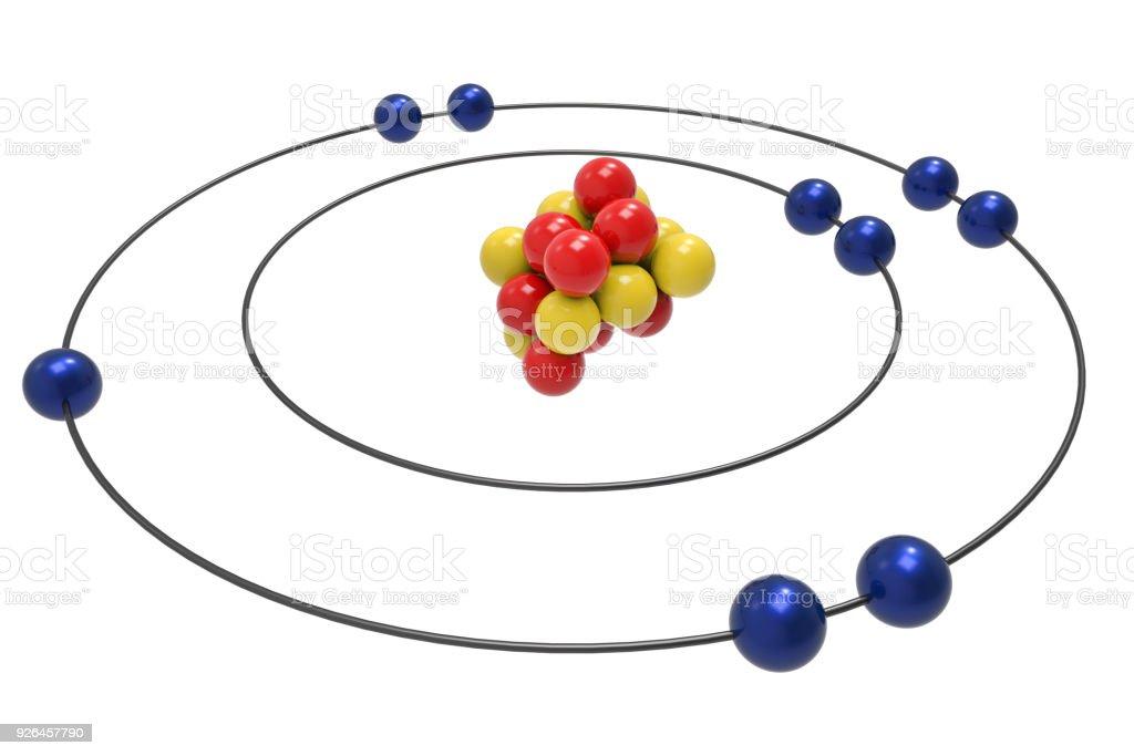 Bohr model of Fluorine Atom with proton, neutron and electron stock photo