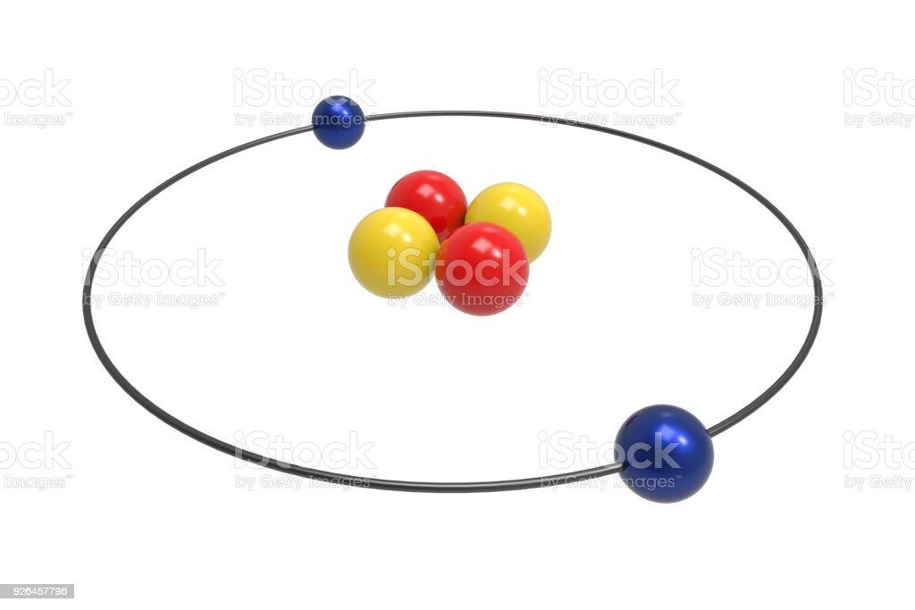 Bohr Model Of Helium Atom With Proton Neutron And Electron