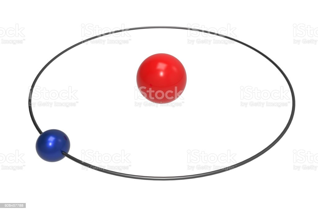 Bohr Model Of Hydrogen Atom With Proton And Electron Stock ...