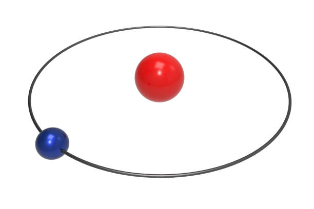 bohr model of hydrogen atom with proton and electron - atom zdjęcia i obrazy z banku zdjęć