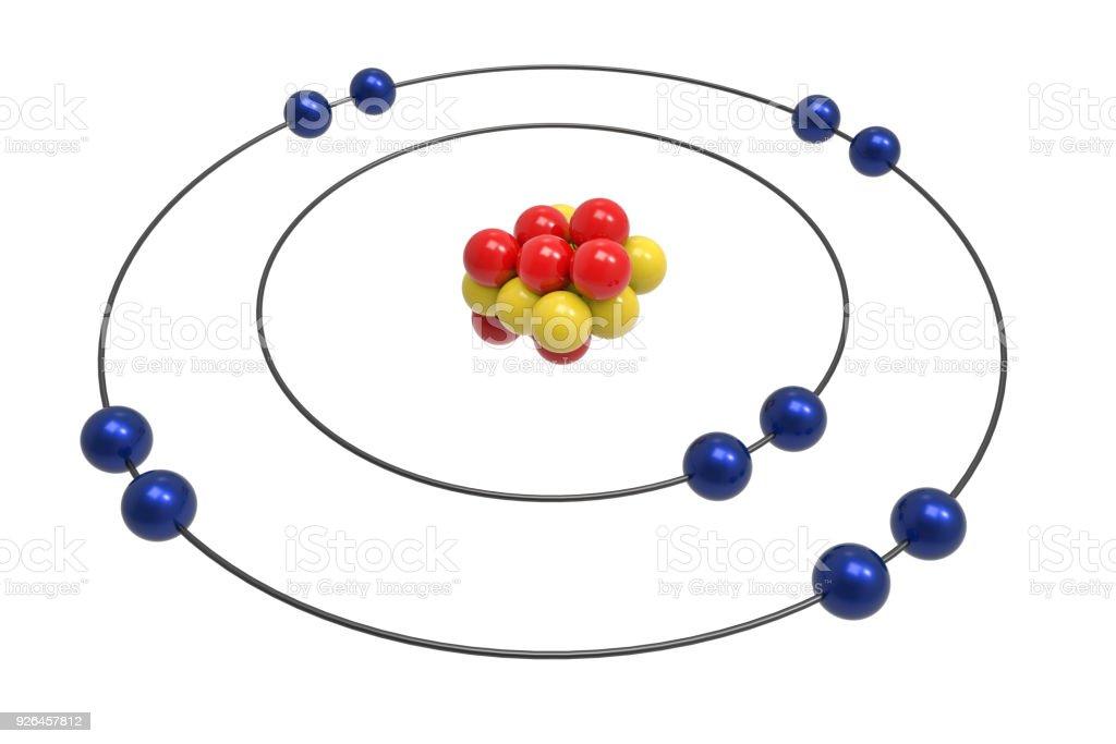 Bohr Model Of Neon Atom With Proton Neutron And Electron